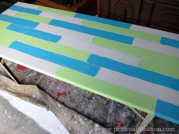table top painted with fake planks step 6