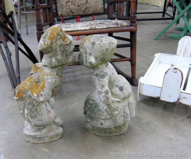vintage garden statues at the Nashville Flea Market Petticoat Junktion shopping trip