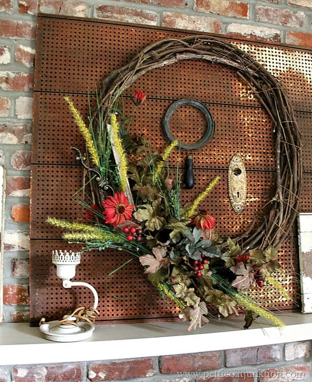 Pinterest Home Decor 2014: Colors Of Fall Wreath { Fall Home Decor Tour }