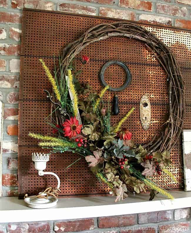 Colors of fall wreath fall home decor tour petticoat Decorative wreaths for home