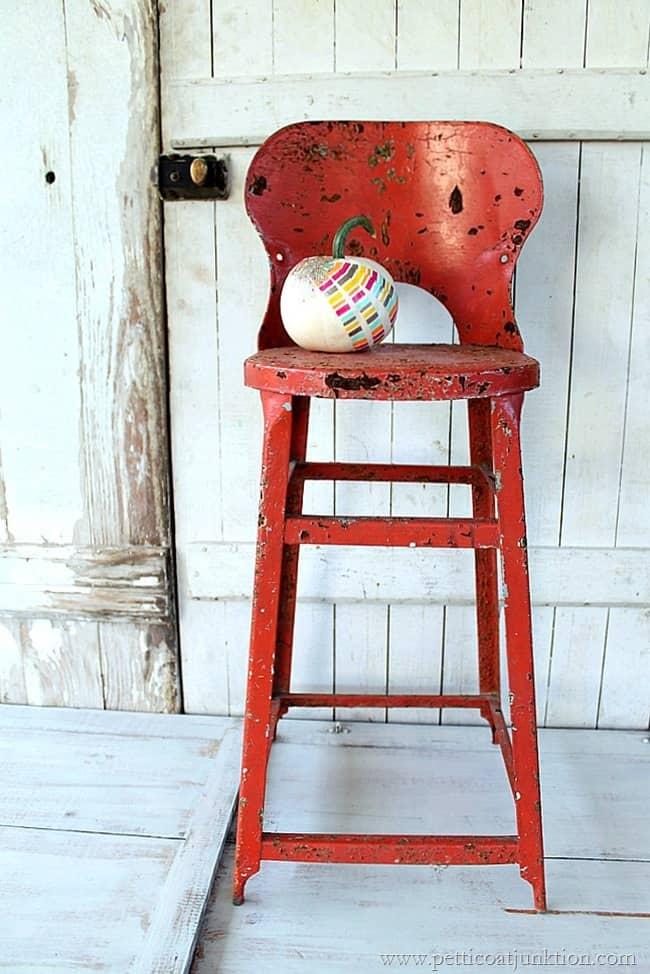 Orange Rusty Stool Flea Market Find Petticoat Junktion