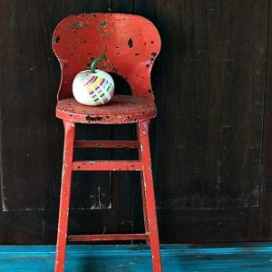The Pumpkin Takes A Seat { Orange Rusty Flea Market Find  }