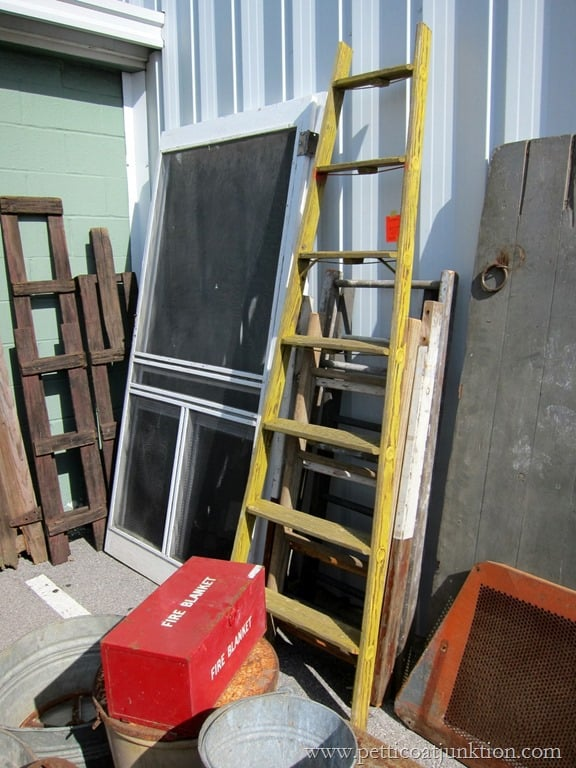 wood ladder painted yellow