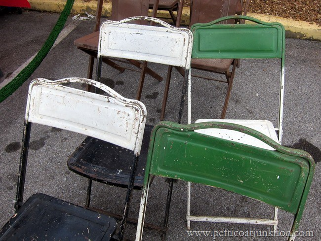 green and white metal folding chairs Nashville Flea Market Petticoat Junktion
