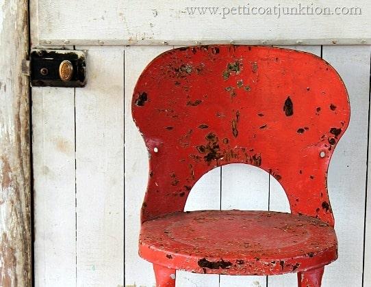 orange rusty stool Petticoat Junktion