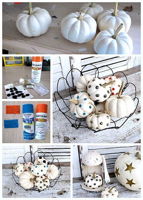 Decorating small white pumpkins