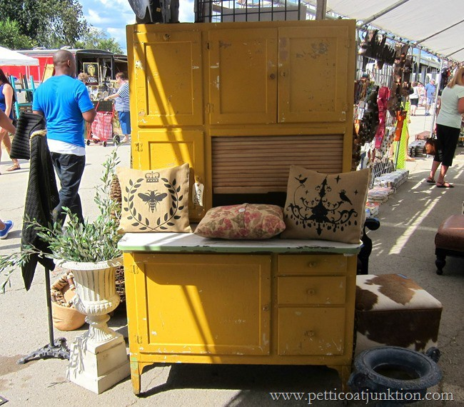 Nashville Flea Market Furniture Finds, yellow kitchen cabinet