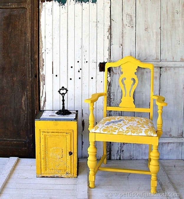 bold and fancy yellow chair with cockatiel fabric seat Petticoat Junktion