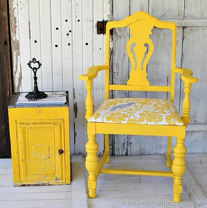 Unique bold yellow chair with covered seat Petticoat Junktion
