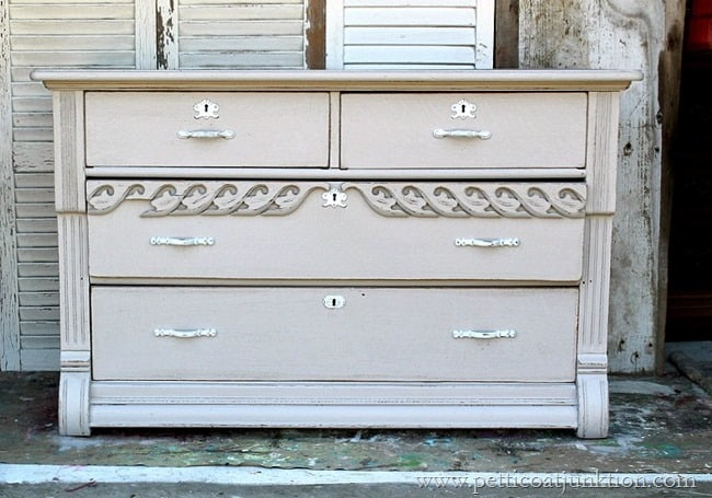 gray paint finish for antique dresser Petticoat Junktion