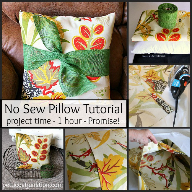no sew pillow cover tutorial project by Petticoat Junktion
