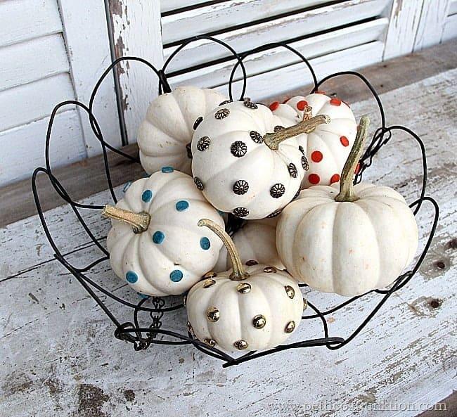 Small Pumpkin Decorations: Decorating Small White Pumpkins Using Upholstery Tacks