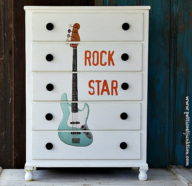 rock star furniture theme makeover by Petticoat Junktion