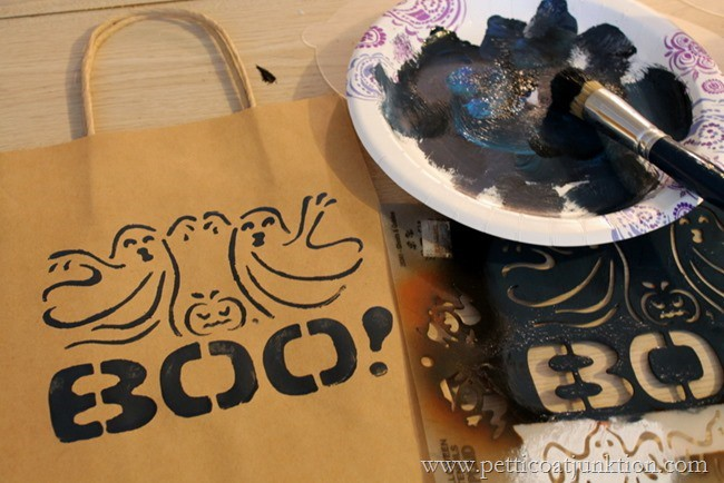 stenciling trick or treat bags Petticoat Junktion