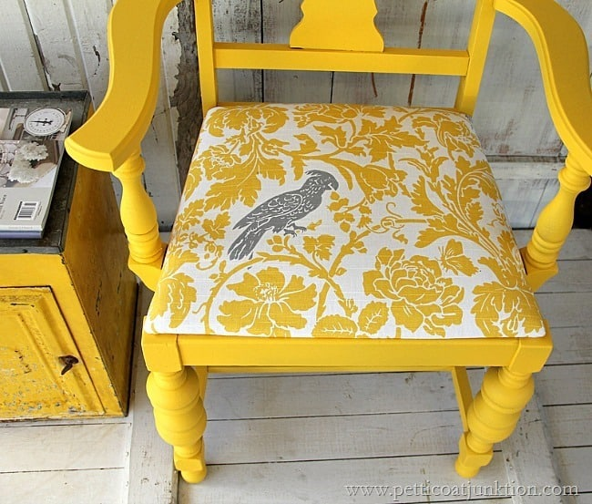 yellow chair with fabric covered seat Petticoat Junktion