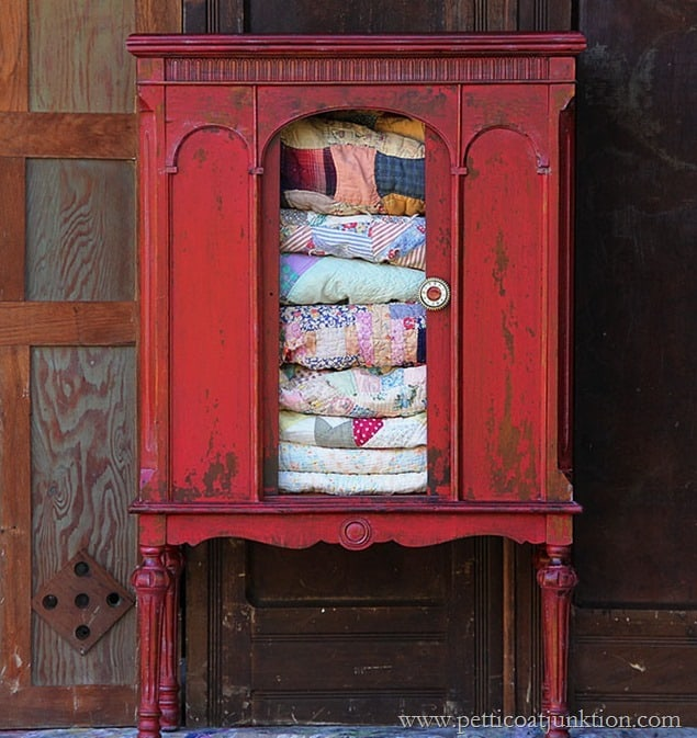 Tricycle Red Milk Paint Radio Cabinet Petticoat Junktion