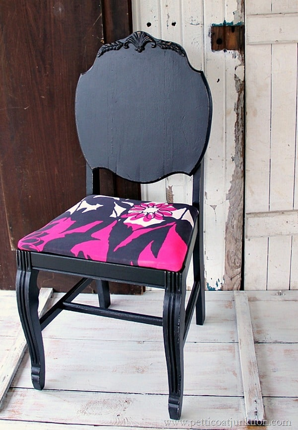 fuchsia and black color combination for dramatic chair makeover Petticoat Junktion