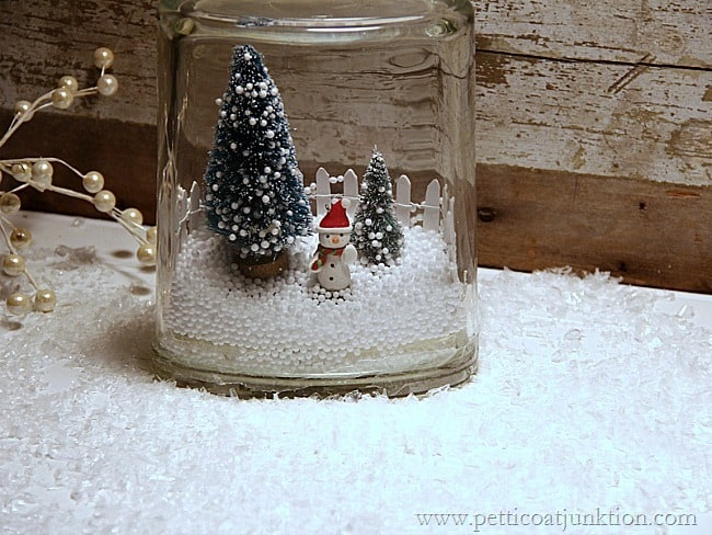 learning how to create a winter snow scene in a jar petticoat junktion