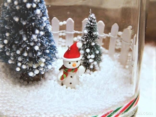 snowman winter snow scene in a jar
