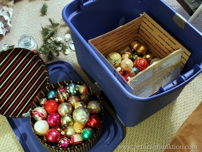 Christmas decorating with vintage ornaments