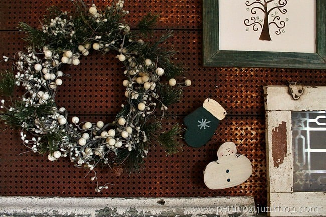 Christmas mantel junk decorations Petticoat Junktion