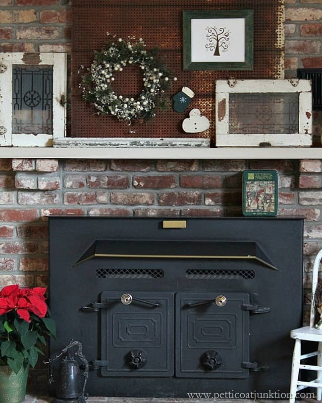 Decorating the mantel for Christmas Petticoat Junktion