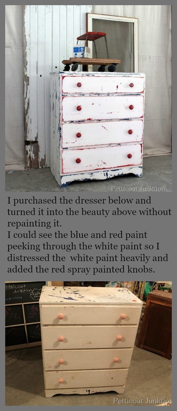 Heavily Distressed Red White And Blue Furniture Petticoat Junktion