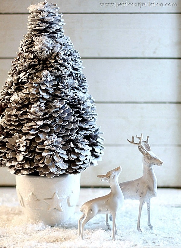 White Christmas Tree And Deer | Budget Decorating Ideas