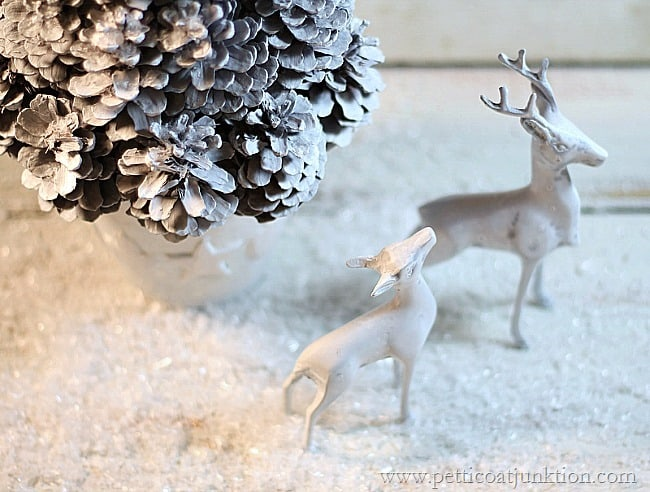 White Christmas Tree And Deer Budget Decorating Ideas
