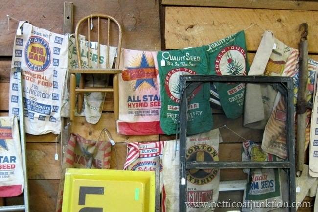 grain sacks Christmas shopping at the junk shop Petticoat Junktion