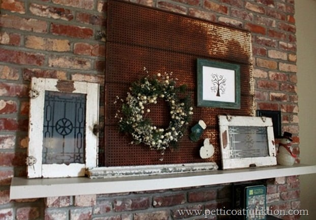 junk salvage Christmas mantel decorations Petticoat Junktion