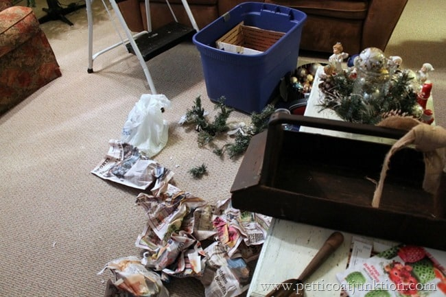 unpacking Christmas decorations