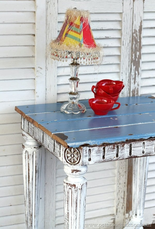 blue reclaimed wood plank top table Petticoat Junktion