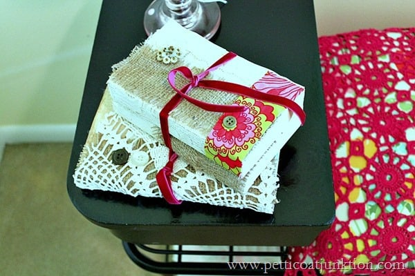 diy lace covered books Petticoat Junktion project