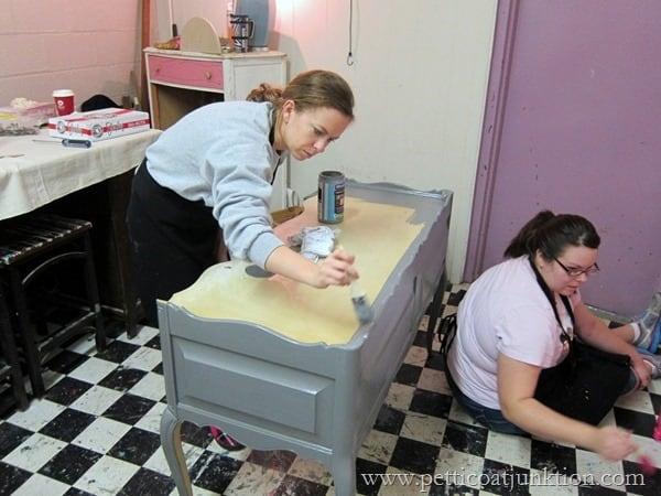 painting fun Petticoat Junktion furniture painting workshop