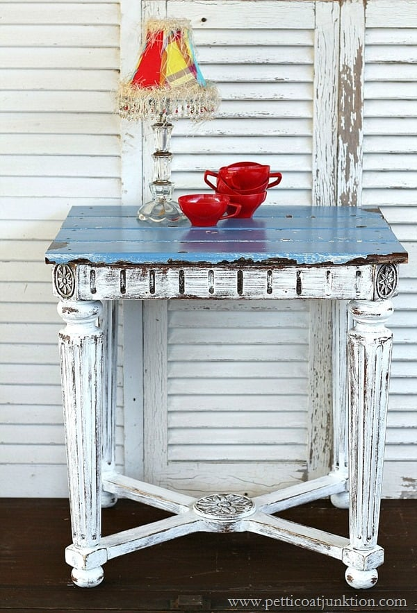 reclaimed wood table top Petticoat Junktion inspired by HGTV project
