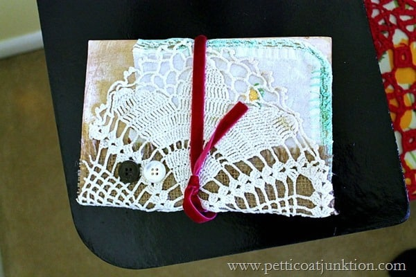 ribbon and lace covered book Petticoat Junktion