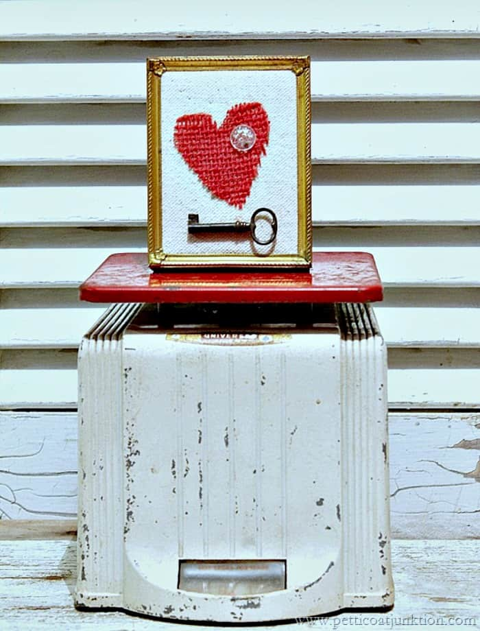 vintage red kitchen scale Happy Hearts Valentines Day project
