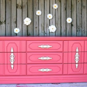 Coral Painted Nursery Dresser | Furniture Makeover