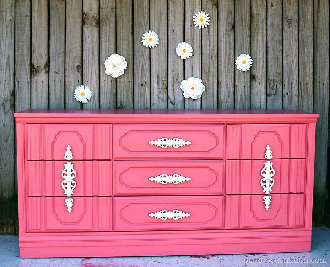 coral painted nursery dresser furniture makeover petticoat junktion