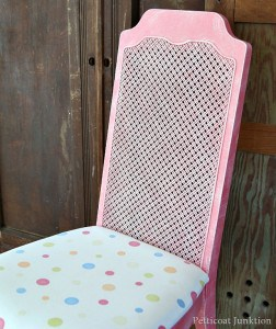 Coral Painted Dry Brushed White Cane Back Chair