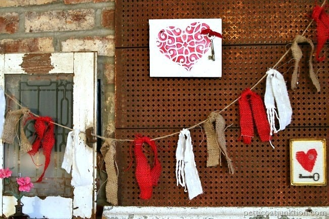 Red Garland and Hearts Fireplace Mantel Display Petticoat Junktion