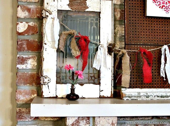 burlap garlands and red stenciled heart