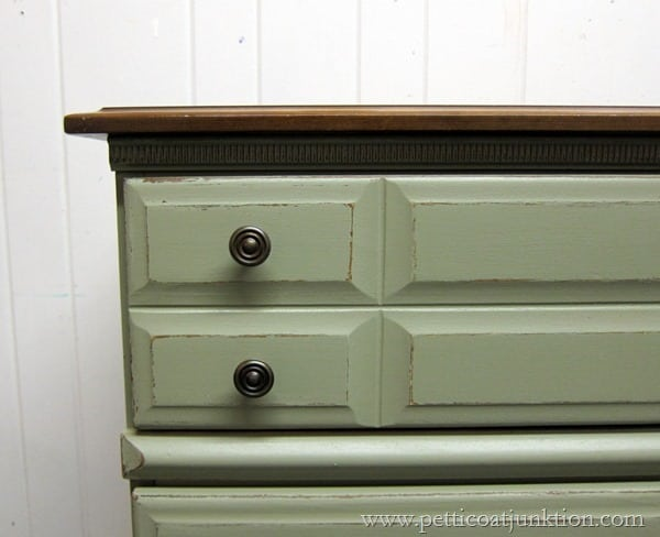 distressed paint and two tone finish Petticoat Junktion paint workshop