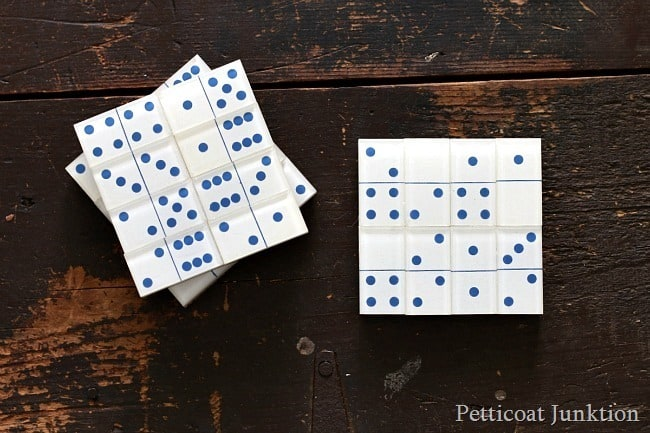 diy domino coasters Petticoat Junktion thrift store decor makeover challenge series