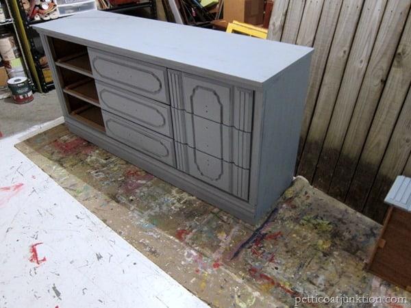 gray primer Petticoat Junktion furniture project