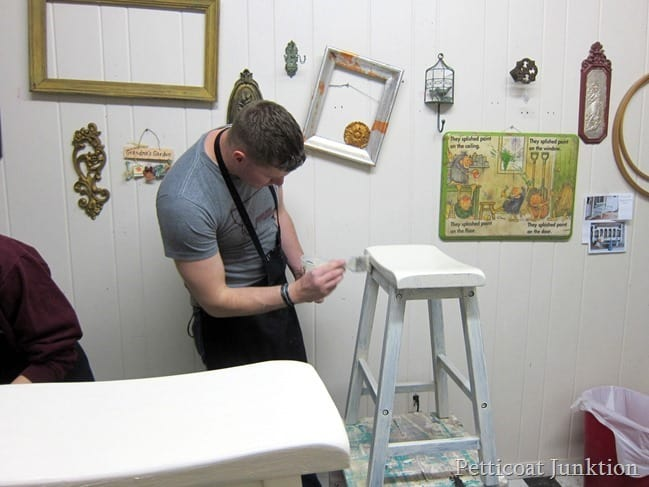painting a barstool furniture painting workshop Petticoat Junktion
