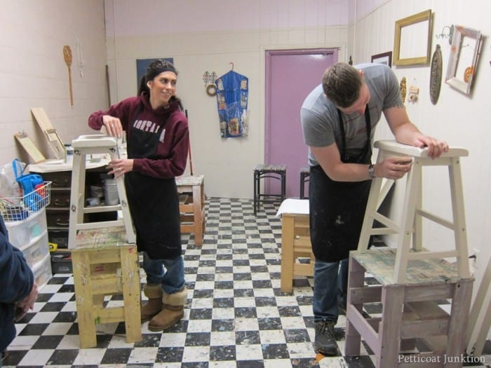 painting bar stools in a furniture painting workshop
