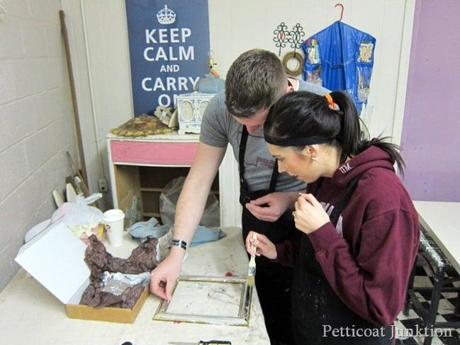 using silver leaf furniture painting workshop Petticoat Junktion