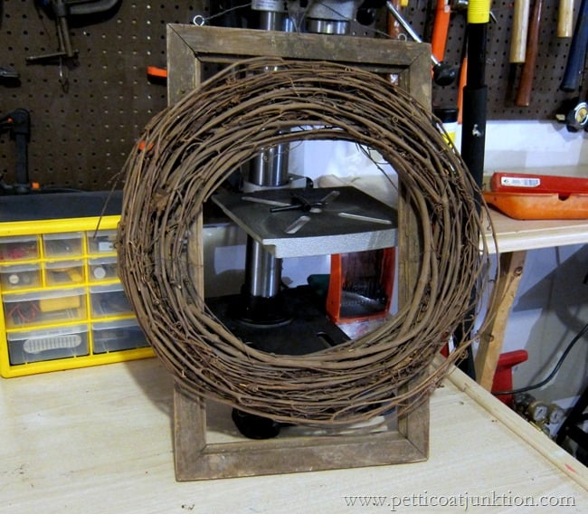 wire a grapevine wreath to a frame Petticoat Junktion